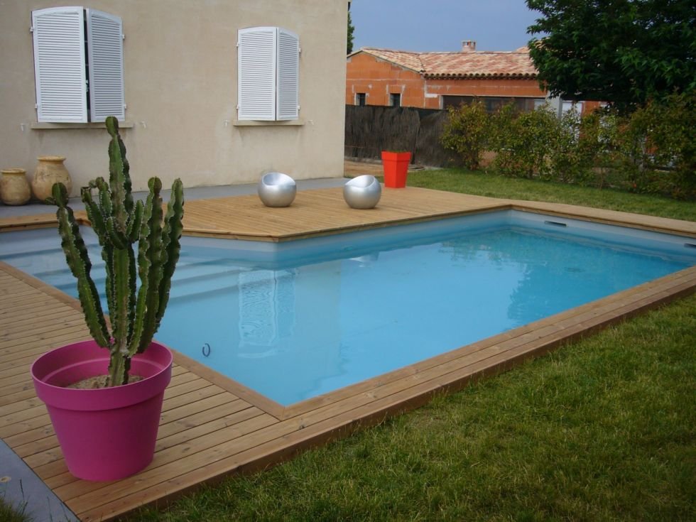 Cr ation d 39 une plage de piscine en pin thermopin puyricard ambian - Photo terrasse piscine ...